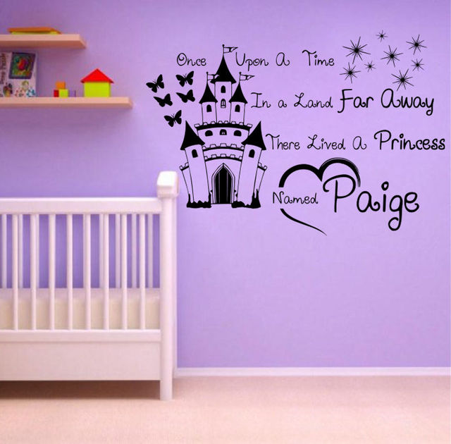 Personalized name princess once upon a time children kids for Disney wall stencils for painting kids rooms