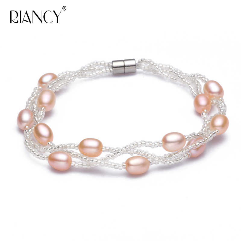 Fashion natural freshwater pearl bracelet for ladies pearl Bracelet jewelry rice-shaped Multi-layer pearls brcelets