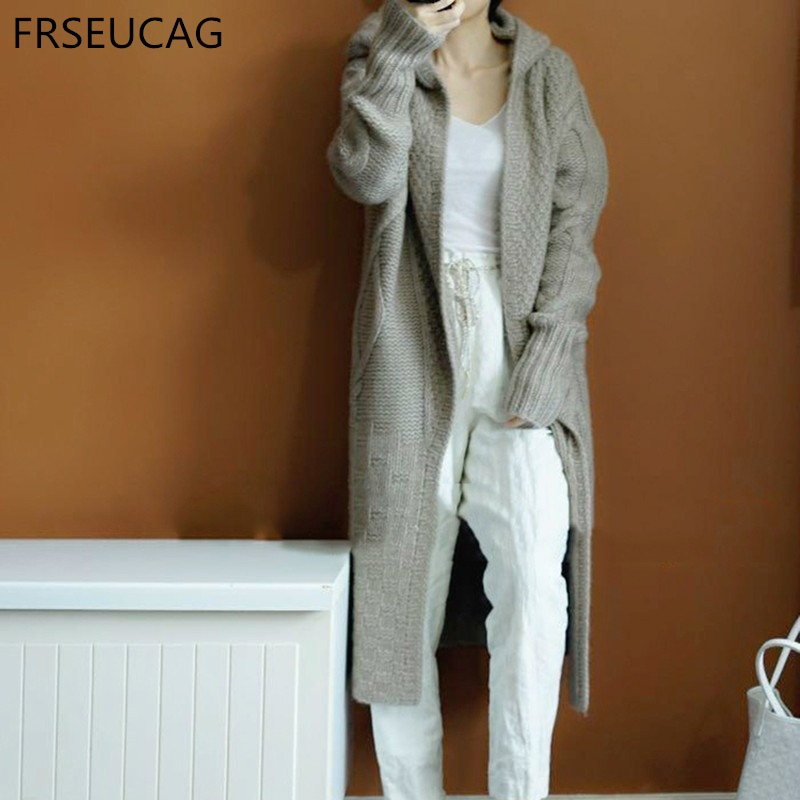 FRSEUCAG Hot wild casual sweater women's hooded knit cardigan long-sleeved loose sweater autumn and winter models coat Genuine gray and white loose fit cardigan sweater
