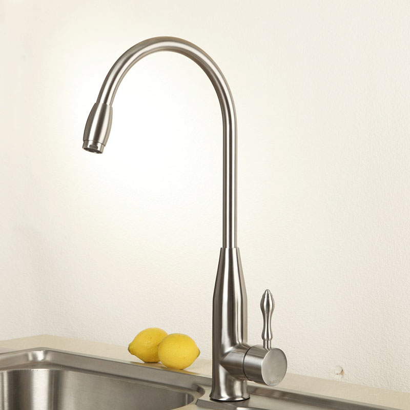Free Shipping Lead-Free Quality Kithcen Faucet Basin Sink faucet Mixer Tap Cold Hot Water tap Stainless Steel Swivel Spout