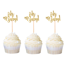 60pcs Mini Gold Glitter Oh Baby Cupcake Toppers Party Decors 1st Birthday Cake Decoration Shower Favor Free Shipping