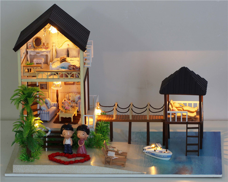ФОТО Large Assembling DIY Miniature Model Kit Wooden Doll House Maldives Cabin with  light Music Furnitures Toys for children adluts
