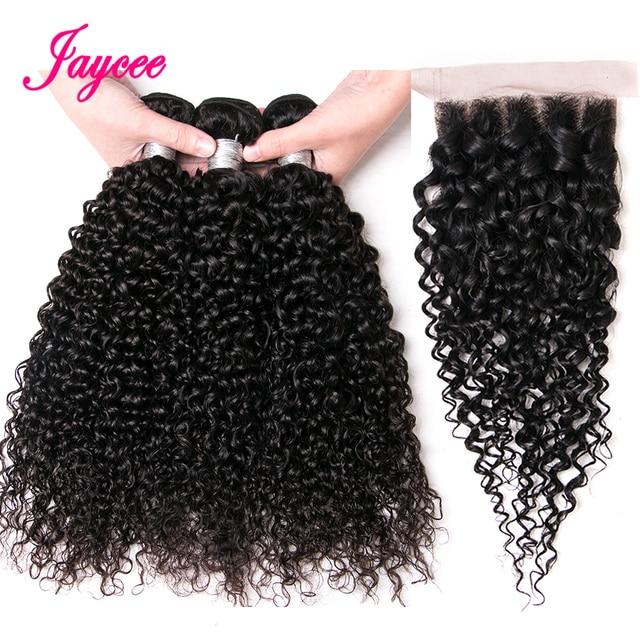 Jaycee Brazillian Curly Hair Bundles With Closure Brazilian Hair Weave Bundles with Closure Human Hair Extension capelli umani
