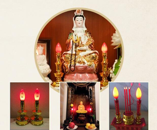 6pcs/lot E12 E14 E27 Available Special Candle Light Bulb Red Fortuna Lamp Fragrant Candlestick Temple Sacrifice Lotus Lamp