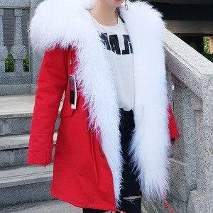 Image 3 - MAOMAOKONG abrigo de invierno de manga larga para mujer, abrigos de exterior holgados de gran tamaño de mongolia Natural, Cuello de piel de oveja, Parka larga, chaqueta de mujer