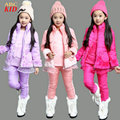 Winter Warm Clothing Set Kids Girl Casual Clothes Lace Fuax Fur Waistcoat + Fleece Sweatshirt + Pants 3pcs Suits 4-12Y KD248