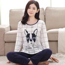 Bavlněné obrázkové pyžamo pro ženy – kalhoty a tričko s dlouhým rukávem