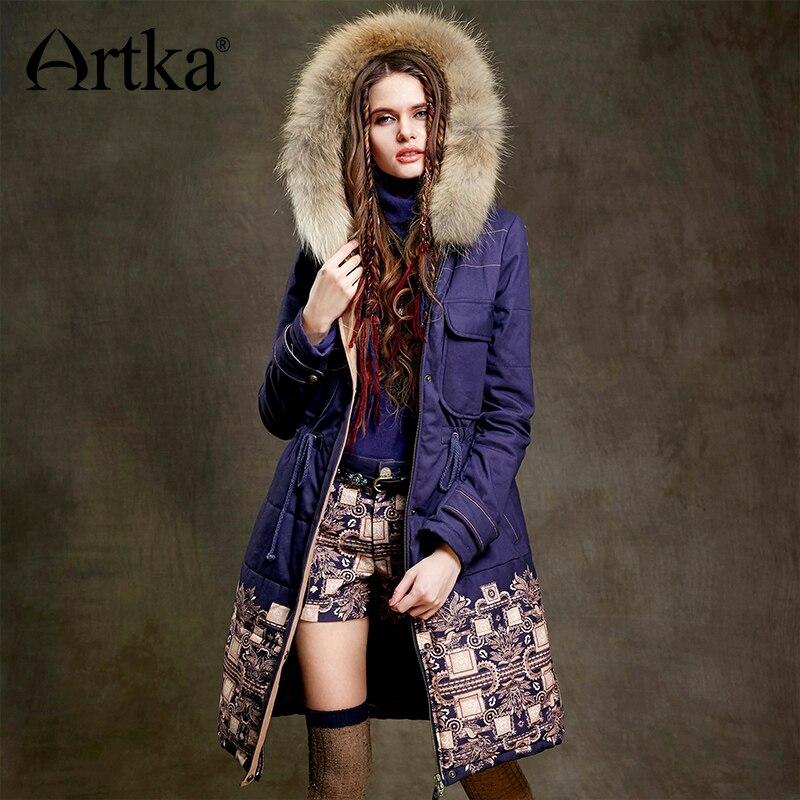 ARTKA Fur   Parka   Women Winter Down Jacket 2018 Warm   Parka   Ethnic Print Coat Female Long Raincoat Drawstring Waist Jacket MA15157D
