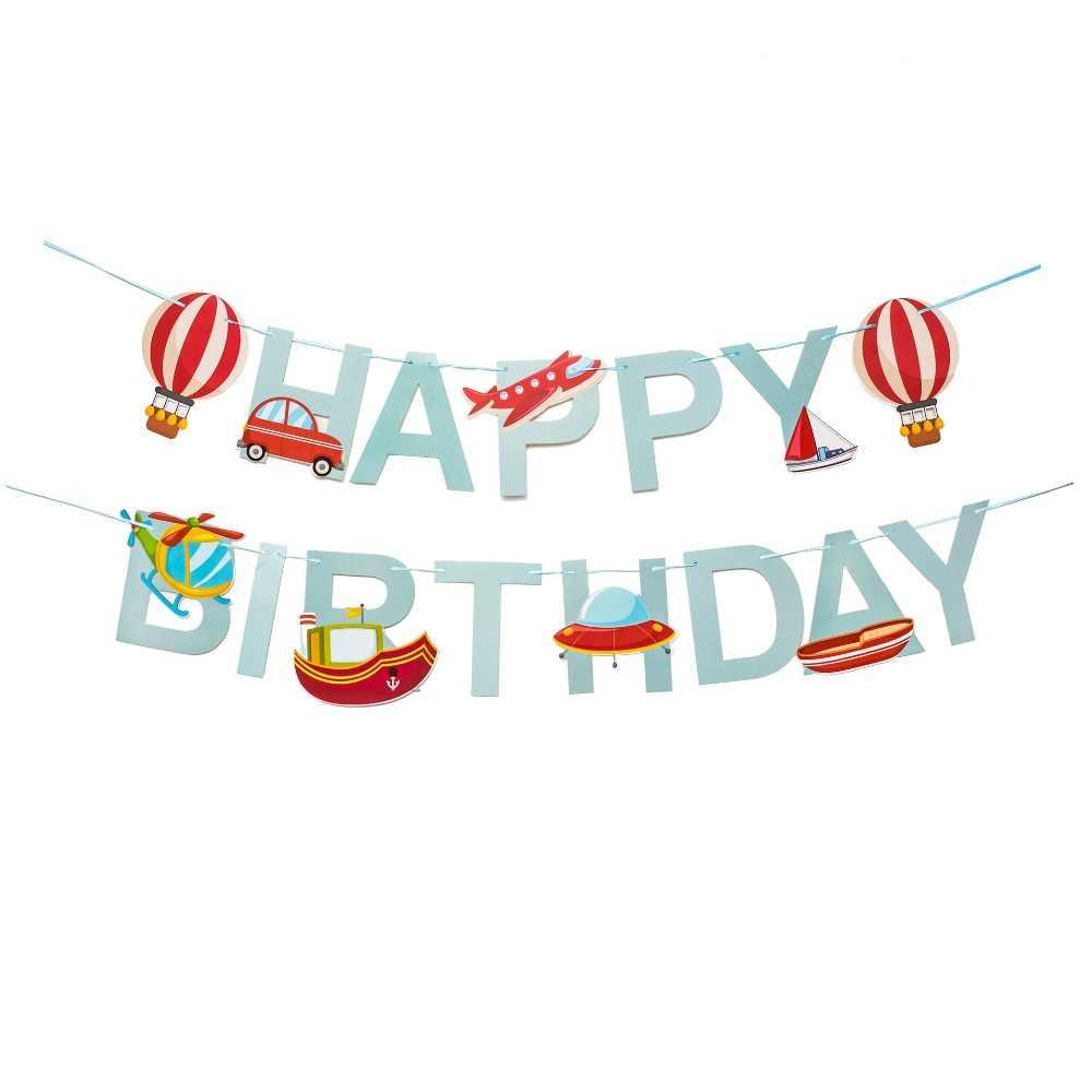 Воздушный шар Пароварка вертолет космический корабль с днем рождения бумаги Гирлянда из фигурок для детей день рождения украшения