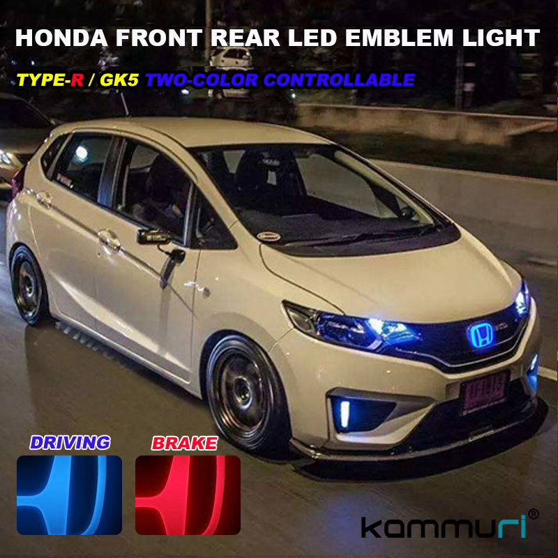 Crystal two color Badge for Honda civic Fit Odyssey Pilot CRV URV Accord Crosstour City Front Rear LED Badge Logo Emblem Light auto logo sticker 5d car logo light led emblem light for ford front & rear badge emblem car led light front emblem stickers