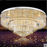 LED 110-220 v Luzes de Teto Contratados High-grade luxo Cristal Lâmpadas de Teto Sala de Estar Quarto Atmosfera Remoto circular