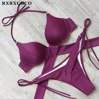 RXRXCOCO Sexy Bandage Bikinis Push Up Swimwear Women Swimsuit Brazilian Bikini Set 2018 Summer Solid Bathing