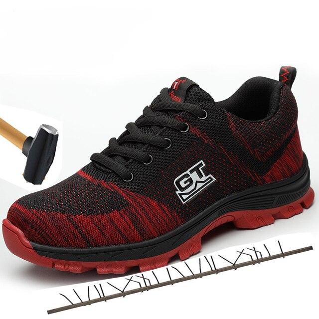 男性のプラスサイズ通気性メッシュ鋼つま先屋外安全靴男性産業&建設穿刺証拠作業靴