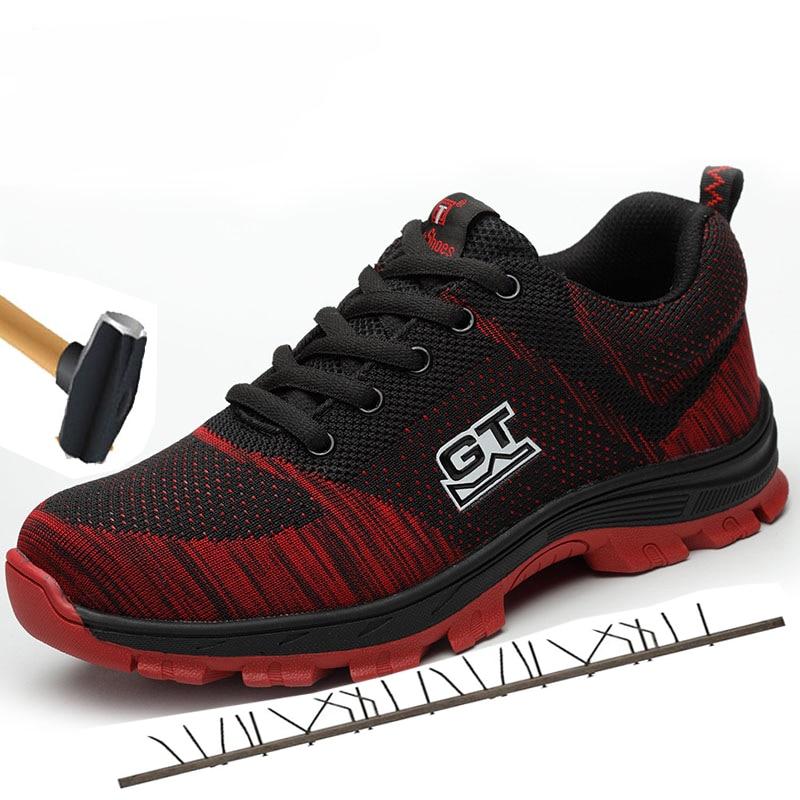 Männer Plus Größe Atmungsaktive Mesh Stahl Toe Außen Sicherheit Schuhe Männer Industrielle & Bau Pannensichere Arbeit Schuhe