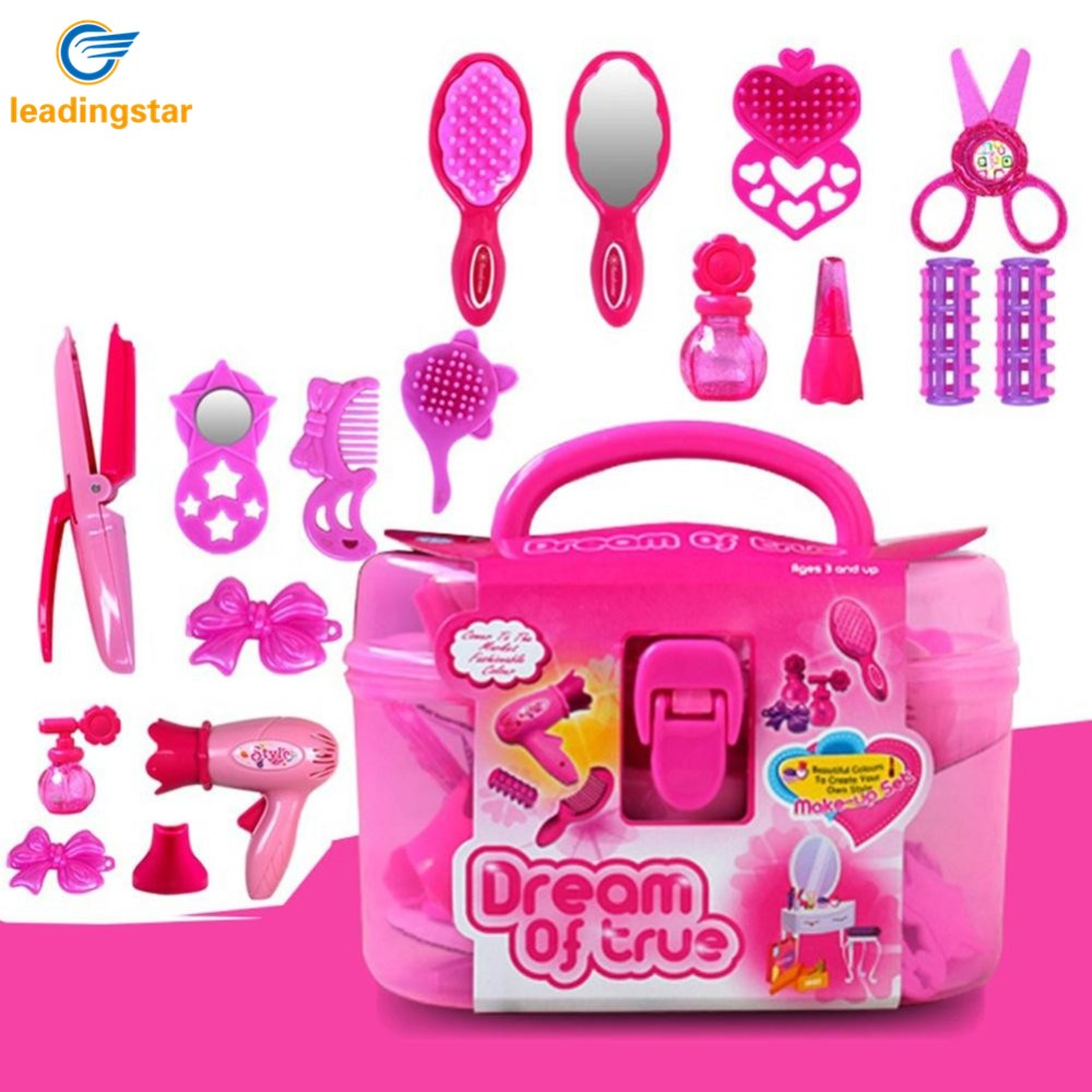 LeadingStar Kids Beauty Salon Toys Beauty Case with Hairdryer Comb Perfume Bottle Lipstick Girls Pretend Play Toys Set