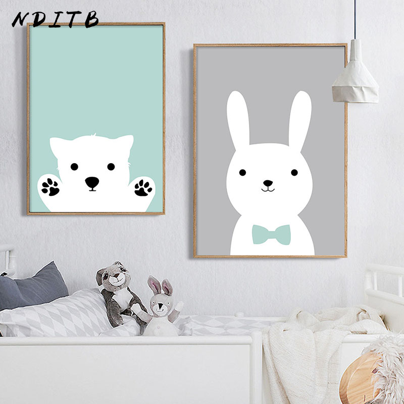 NDITB Kawaii Bear Rabbit Canvas Art Posters Woodland Animal Cartoon Nursery Prints Painting Wall Picture Baby Room Decoration