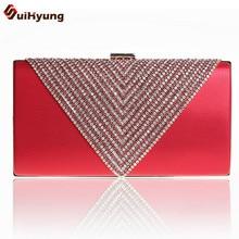 New Good Quality New Women PU Leather Dinner Handbag Luxury Diamond Wedding Bride Bridesmaid Clutch Party Evening Bag