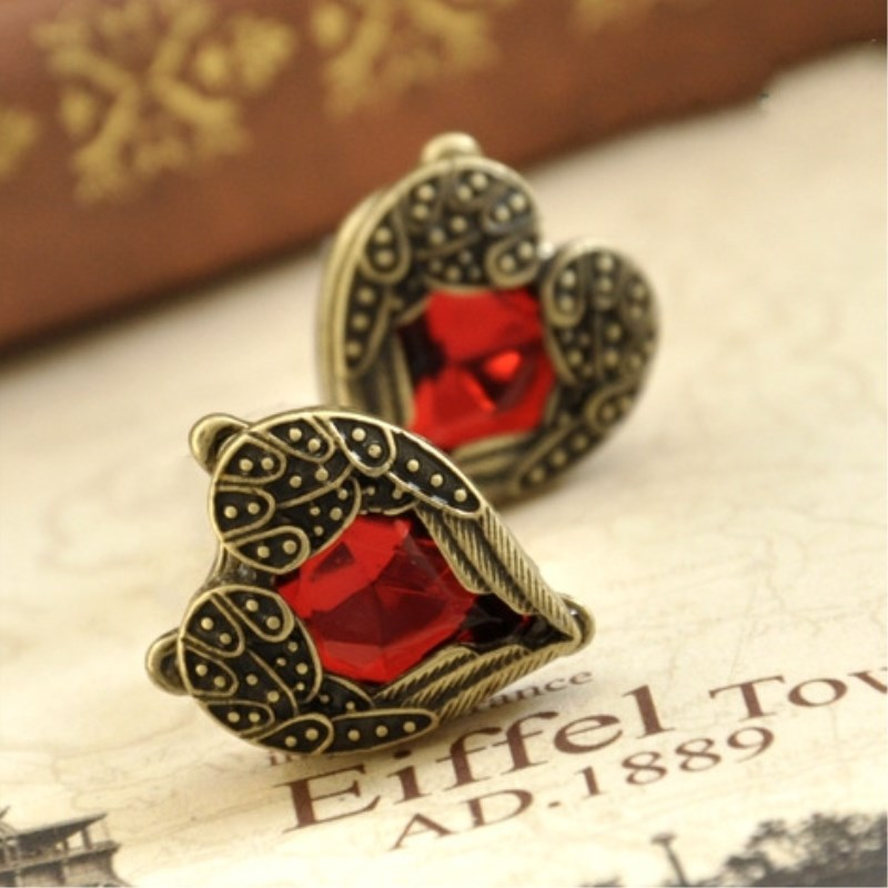 New Style Fashion Vintage Angel Wing Red Peach Heart Stud Earrings Wedding Jewelry Accessories