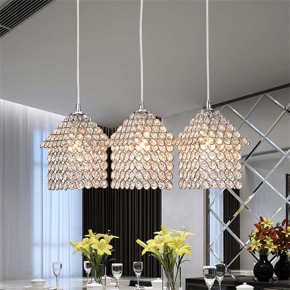 MAMEI Free Shipping 3 Lights Dinner Room Modern Crystal Pendant Lamp With House Design Island Lamp Fixtures  mamei free shipping 3 lights crystal led pendant light fixtures for dinner room kitchen island led included