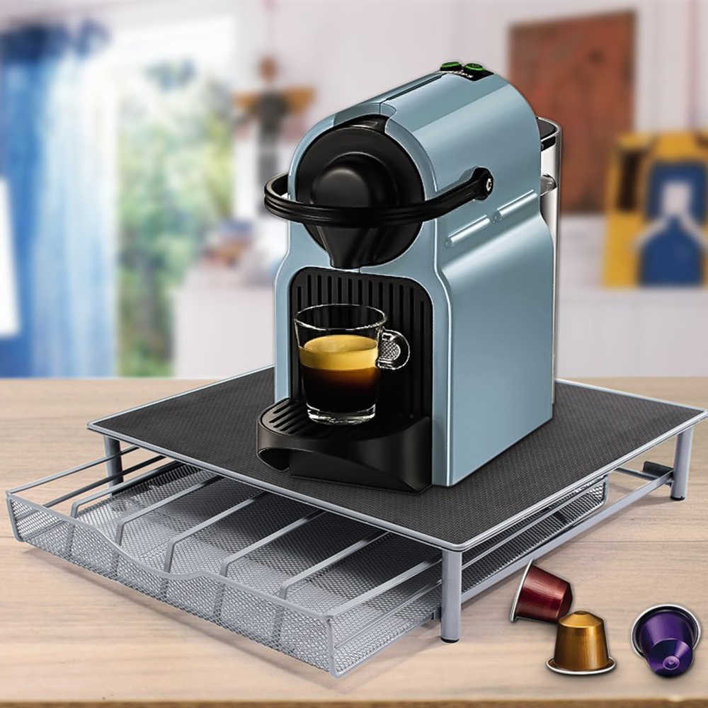 Coffee Machine Base Pod Holder Storage Drawer Coffee Nespresso Capsules Drawers Organizer Stand Rack Drawers Stainless Steel