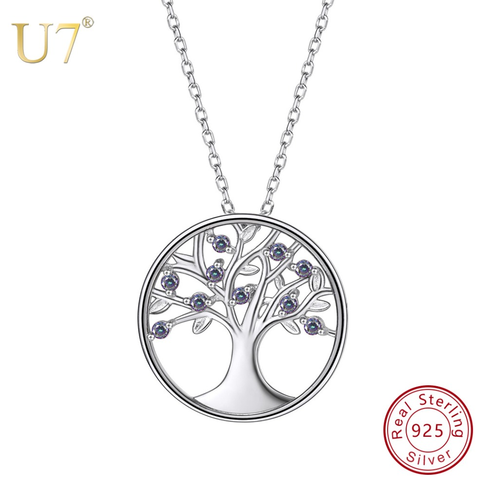 U7 100% 925 Sterling Silver Tree Of Life Round Pendant & Chain With Gem 2018 Mother's Day Gift New Women Jewelry Necklace SC45 u7 100