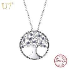 U7 100% 925 Sterling Silver drzewo życia okrągły wisiorek i łańcuch z Gem 2018 dzień matki prezent nowy kobiety biżuteria naszyjnik SC45