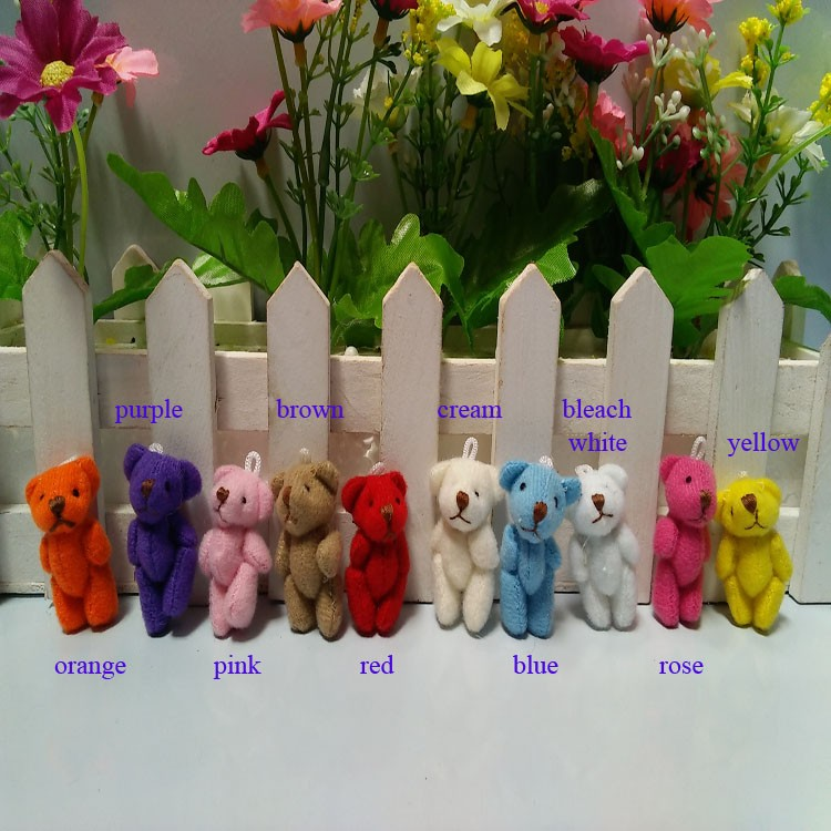 Wholesale 400pcs/lot, 3.5cm Mini Joint Bear Bare Teddy Bear Doll Cell Phone Pendant Cartoon Stuffed Toy Doll,10 colors to choose-in Stuffed & Plush Animals from Toys & Hobbies    1
