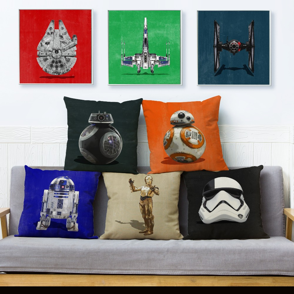 Watercolor Star War Printed Throw Pillowcase Cushion <font><b>Cover</b></font> Office Chair Seat Decor Cartoon Cushion Case <font><b>Home</b></font> <font><b>Textile</b></font> 45x45cm image
