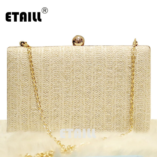 eeb6d510dc74 US $22.52 47% OFF|ETAILL Straw Knitted Nude Evening Dress Bag For Women  Knitting Lady Wedding Purse Ladies Summer Luxury Clutch Chain Shoulder  Bag-in ...