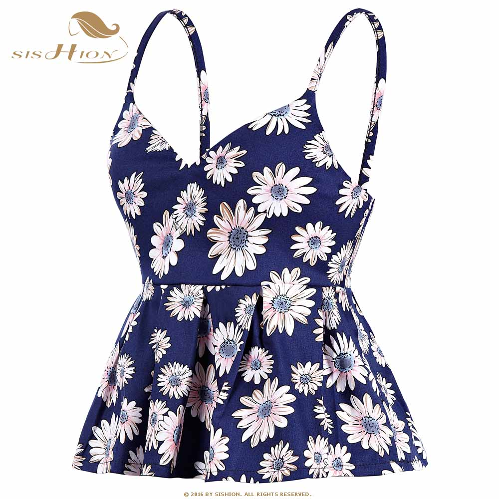 SISHION Bustier Crop Top Women Sexy Slim Short Floral Print Vintage Cropped Tops Pleated