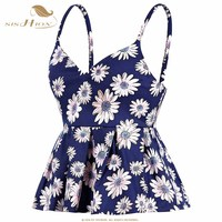 SISHION 0003 Bustier Crop Top Women Sexy Slim Short Floral Print Vintage Cropped Tops Pleated Backless