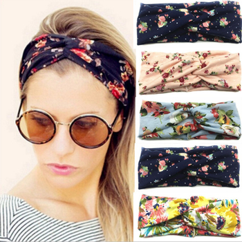 Flower headband Fashion Retro Women Elastic Turban Twisted Knotted Ethnic Headband Floral Wide Stretch Girls Hair Accessories Hair Accessories