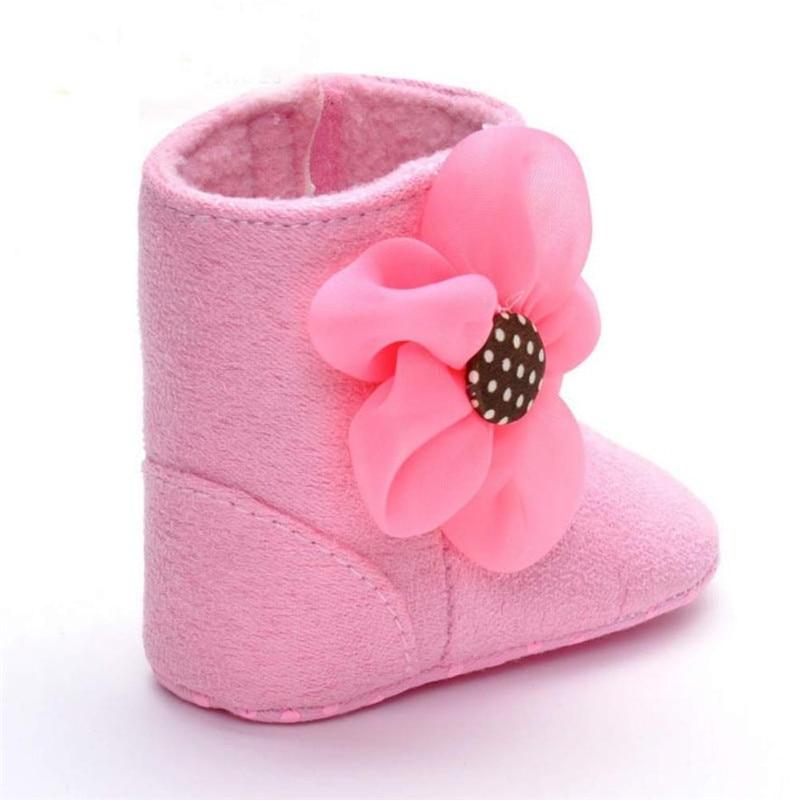 Hot sale Newborn Baby Girls Big Flower Snow Boots Soft Crib Shoes Toddler Kids Warm Shoes botas para neve feminina Dropshipping