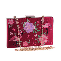 Fashion Folk custom Women's Evening Clutch Embroidered Flower Crane Handbag Flap Metal Chain Shoulder Bag Crossbody Messenger