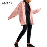 2017 겨울 핑크 블랙 여자 긴 폭격기 재킷 여성 기본 코트 여성 고체 긴 소매