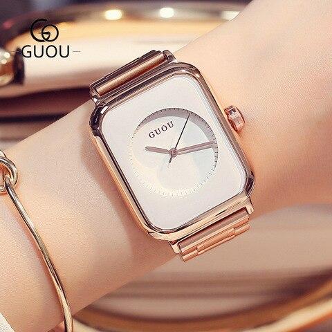 Pulseira de Quartzo Cinto de Aço Relógio de Pulso de Luxo Guou Marca Feminina Relógios Inoxidável Moda Moderna Feminino Bayan Kol Saati