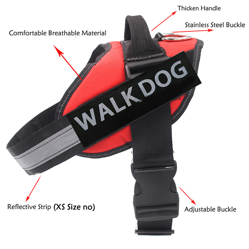 Dog Harness Breathable Pet Harness Vest Dog Collars for Small Medium Big Dog Nylon Dog Lead Belt Pitbull Bull Terrier Rottweiler7 -
