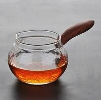 Rosewood Side handle Glass Cha Hai Gongfu Tea Serving Pitcher Fair Cup 220ml