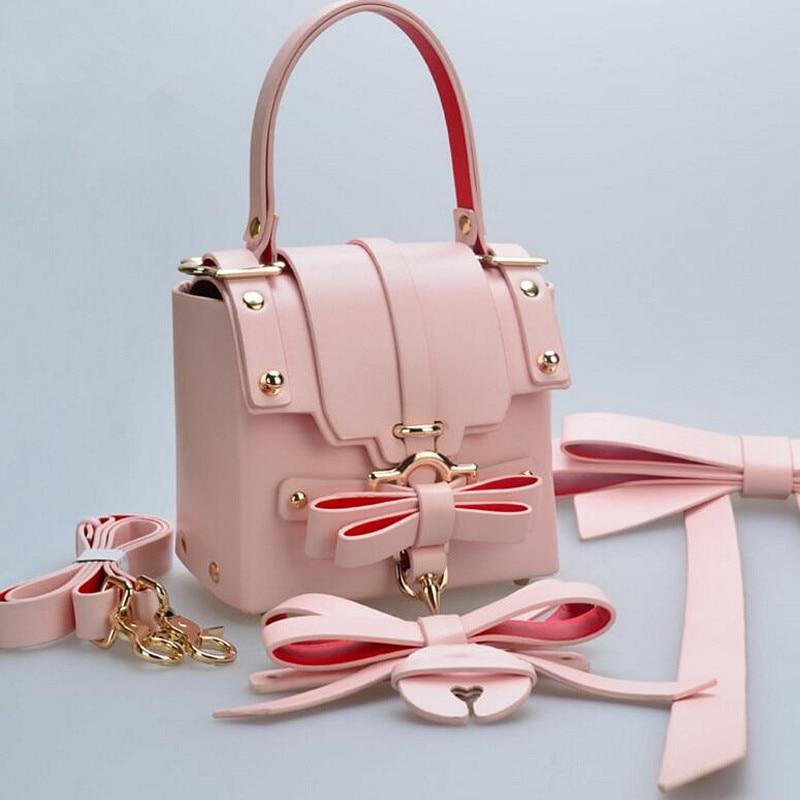 ФОТО New Small Handbag Rivet Ladies Evening Hasp Bag Female Wedding Bowknot Fashion Leather Shoulder Bag Messenger Bags For Gift