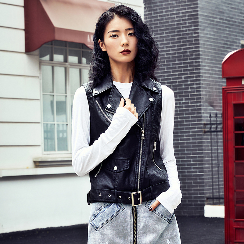 Size XL Spring High Fashion Street Women's Short PU   Leather   Jacket Zipper Black Colors New Ladies vests   Leather   Motorcycle 2019