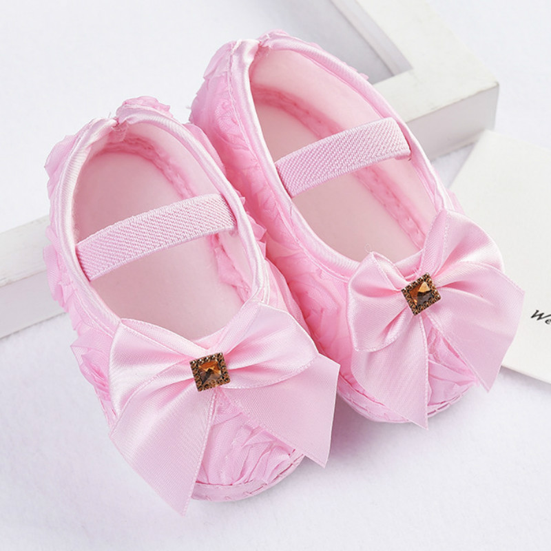 Baby Girl Shoes Ribbon Bow First Walkers Princess Baby Shoes Rose Flowers Bow Newborn Soft Anti-slip for infant Girls 4