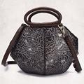 Women Vintage Handbag Genuine Leather Luxury Tote Bags Casual Cross Body Designer Female Real Cowhide Messenger Shoulder Bag