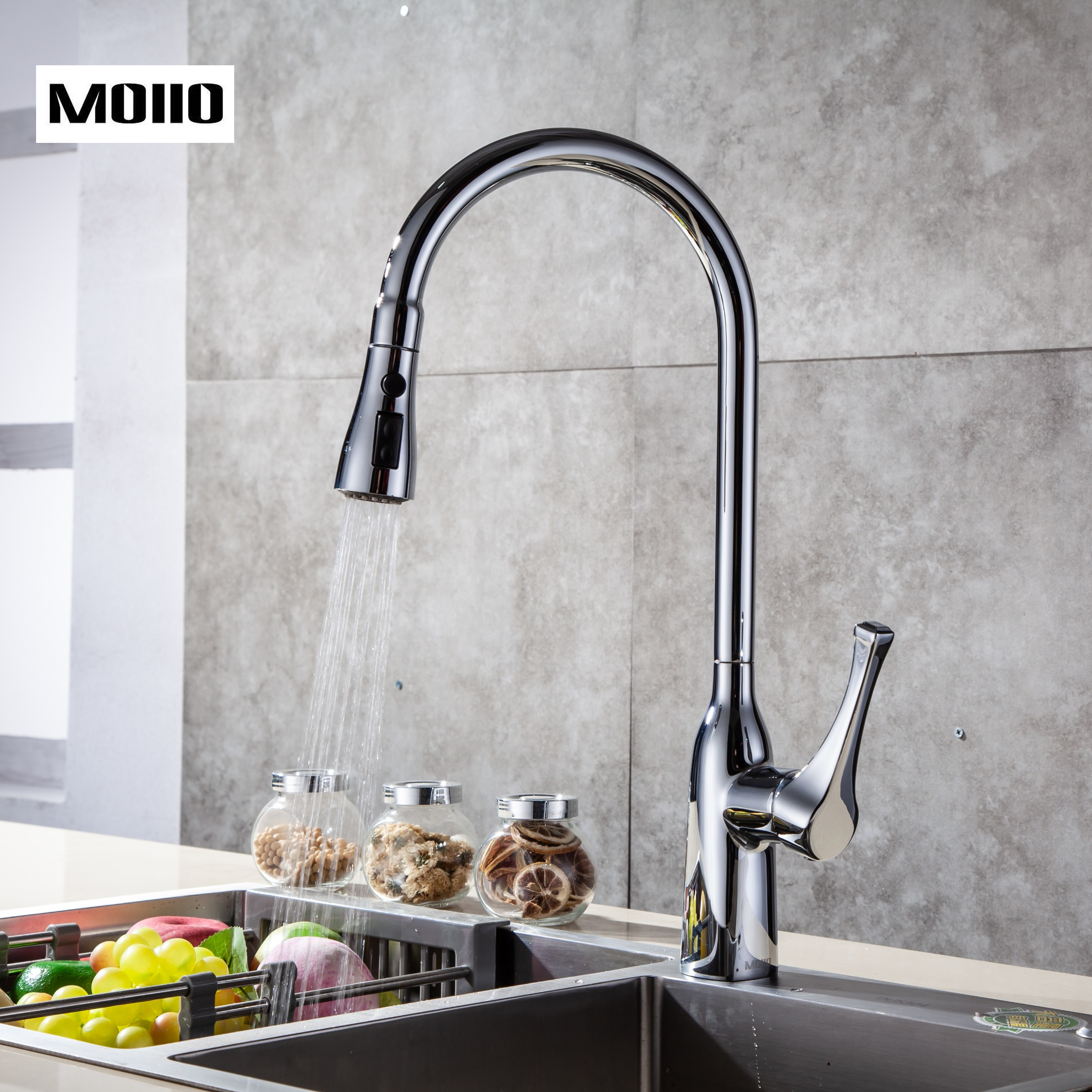 Moiio Modern Style Solid Brass Single Lever Pause Botton Pull Down Sprayer Brushed Nickel Kitchen Faucet Deck Mounted Faucet