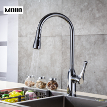 MOIIO Modern style Solid Brass Single Lever Pause Botton Pull Down Sprayer Brushed Nickel Kitchen Faucet Deck Mounted