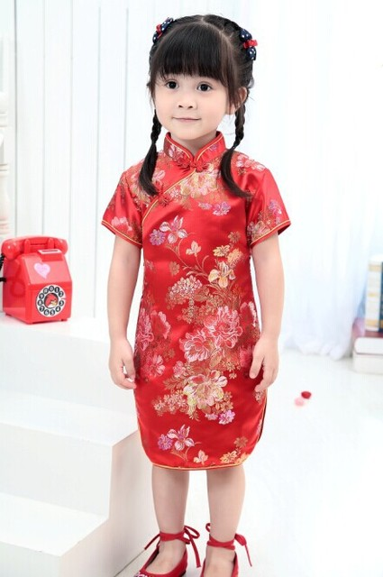 7ea08a481 2019 Cute Girls' summer Dresses Kid Chinese chi-pao cheongsam New Year gift  Party