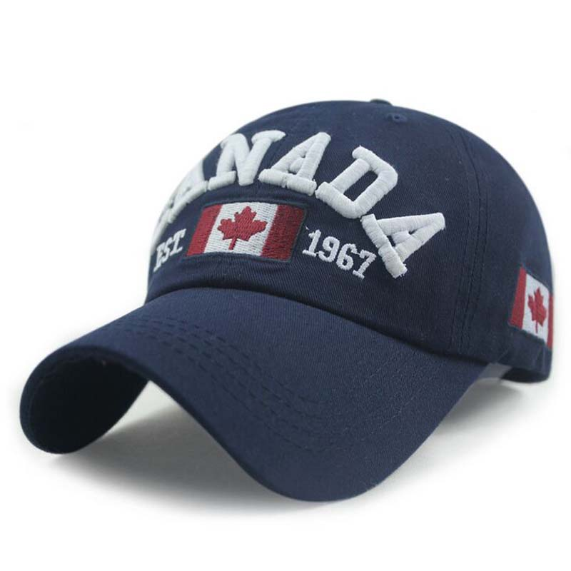 Nye Ankomster Bomuldbroderi Canada Baseball Cap Flag of Canada Hat Snapback Fashion Herre Baseball Caps Brand New For Adult