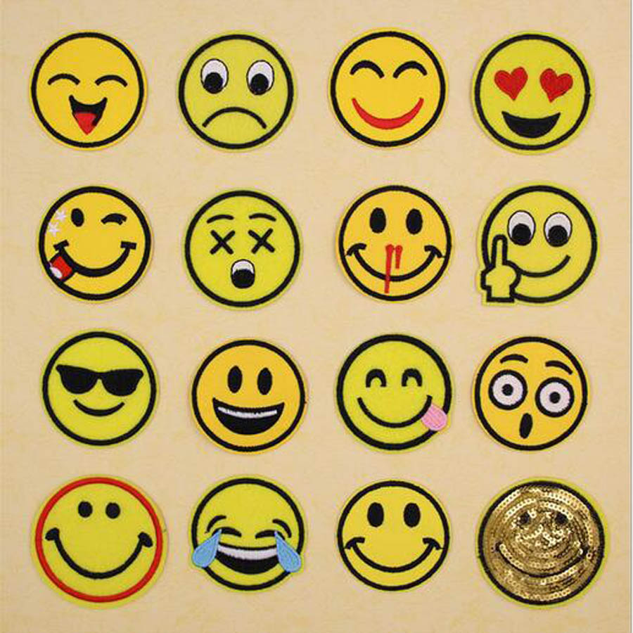 Embroidered Fabric Emoji Emoticon Smiley Cartoon Patch Clothes Stickers Bag Iron On Applique DIY Sewing Clothing Accessories B54