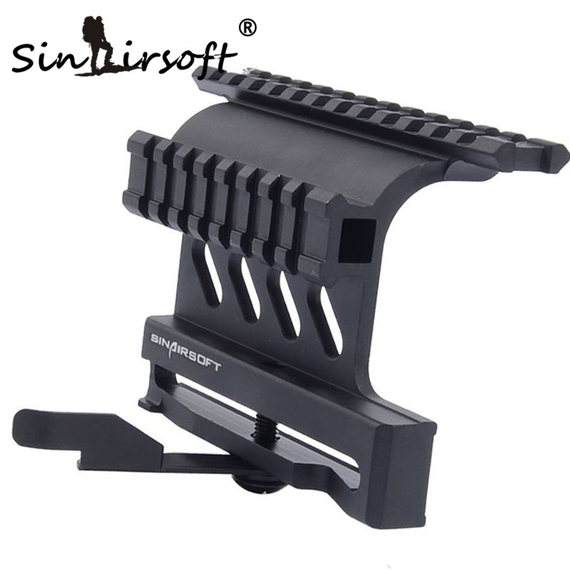 SINAIRSOFT Quick Release AK Tactical Double Picatinny Rails QD Side Mount Scope Hunting Mount See Through AK 47 / 74 MNT-978 element larue tactical spr m4 scope mount qd