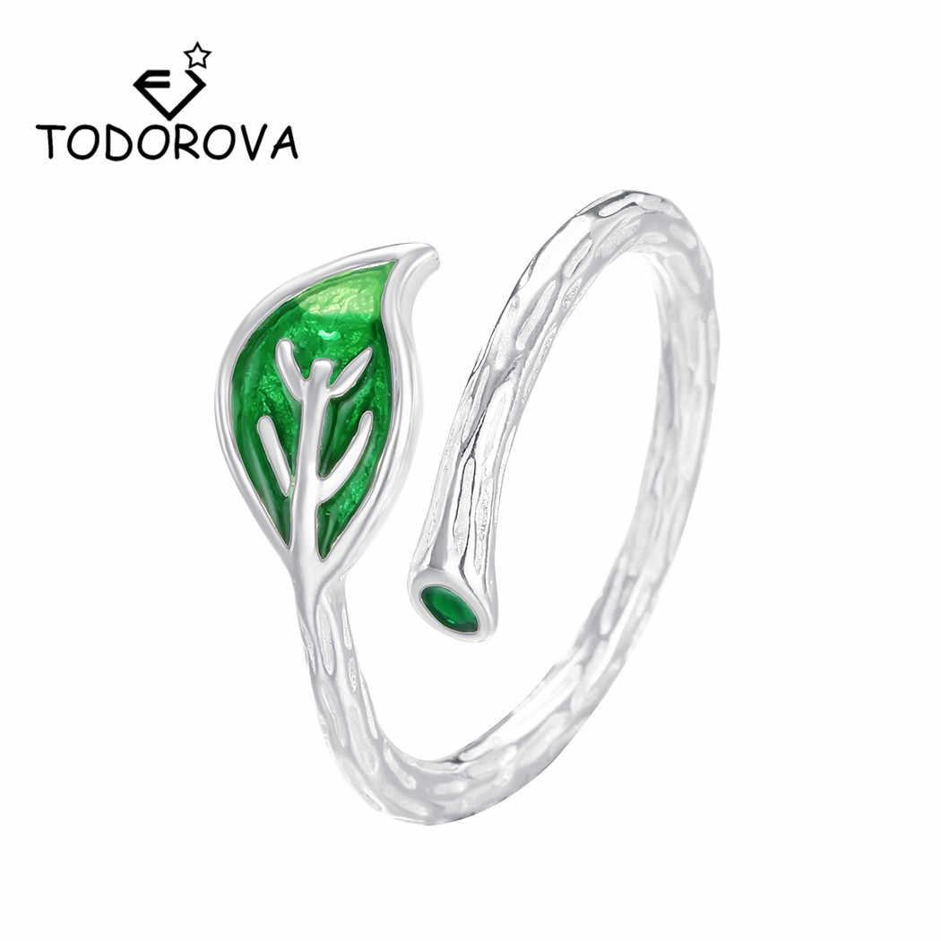 Todorova 調節可能な緑釉葉女性パーティーと操作 feminino シンプルなファッションジュエリー