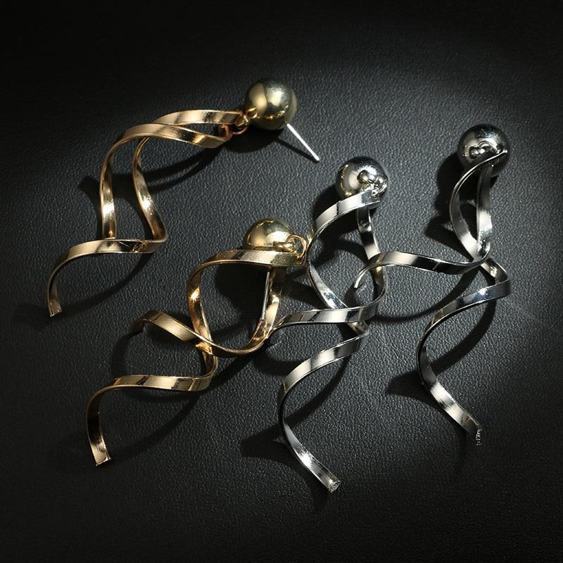 BK Two Colors Unique Design Golden Silver Color Metal Dangle Earrings For Women Trendy Statement Geometric Long Earrings in Drop Earrings from Jewelry Accessories